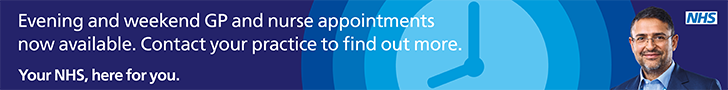 Evening and weekend GP and nurse appointments now available. Contact your practice to find out more. Your NHS here for you